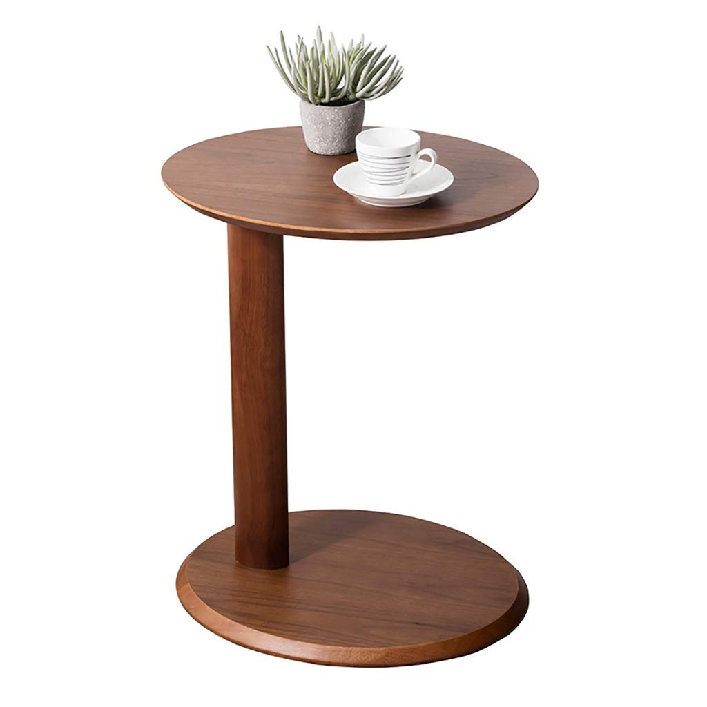 LYR 100% All Solid Wood Sofa Side End Table C Table, Housewares Oval Telephone Table, 48 x 38 x 59 cm - Rubberwood/2 Tier by LYR