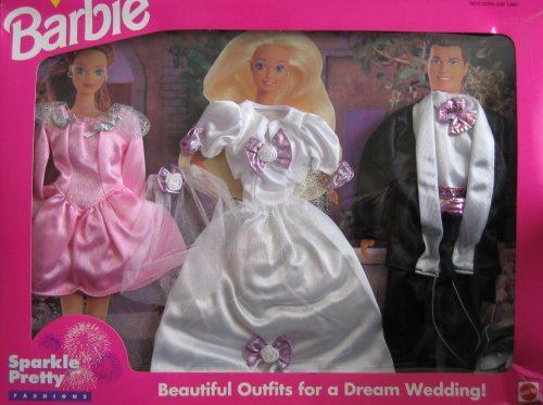 Barbie Sparkle Pretty Fashions - Beautiful Wedding Outfits! Easy To Dress (1995 Arcotoys, Mattel)
