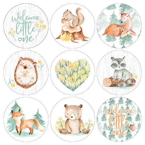 Woodland Baby Shower Favor Stickers | Watercolor Creatures | 198 Count