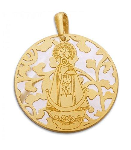 Médaille Vierge plates Nacre et Argent Plaqué Or 40Mm