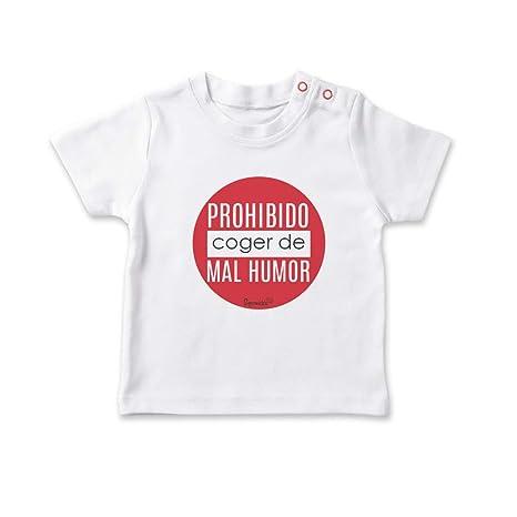 SUPERMOLON Camiseta bebé Prohibido coger de mal humor Blanco ...