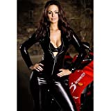 Sexy Vinyl PVC Leather Zip Clubwear Catsuit Fancy Dress Zipper Front Adult Costume - Average