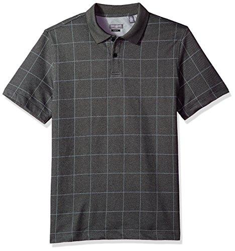 Van Heusen Men's Slim Fit Flex Short Sleeve Stretch Windowpane Polo Shirt, Black, XX-Large