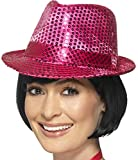 Fashionable Dance Pink Fedora Trilby Hat With Sequins Costume Accessory