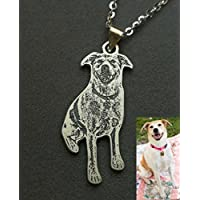 Silver Pet Dog Photo Necklace Personalized Pendant Pet Loss Gift Pet Memorial for Birthday or Mothers' Day Christmas Birthday Mothers Mom Day Gifts