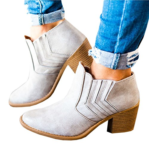 Maybest Women's 2017 Autumn Winter Chunky Low Heel Chelsea Round Toe Ankle Bootie A-beige