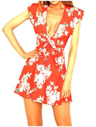 Coolred-femmes Beachwear Imprimé Floral V Cou Robes Casual Été Sexy Rouge
