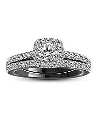 Silvercz Jewels 14K Black Gold Plated Silver 2 Ct Simulated Diamond Engagement Bridal Ring Set