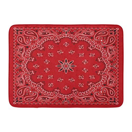 Emvency Doormats Bath Rugs Outdoor/Indoor Door Mat Colorful Pattern Red Paisley Bandana Border Scarf Abstract Floral Bathroom Decor Rug 16