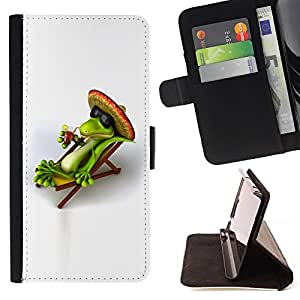 BullDog Case - FOR/Sony Xperia Z1 Compact D5503 / - / Cool Chill Mexican Lizard /- Monedero de cuero de la PU Llevar cubierta de la caja con el ID Credit Card Slots Flip funda de cuer