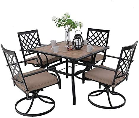 MFSTUDIO Metal Patio Dining Sets Club Bistro Bar Sets Swivel Dining Rocker Chair
