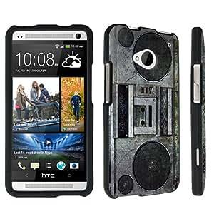 DuroCase ? HTC One M7 Hard Case Black - (Vintage Boombox)