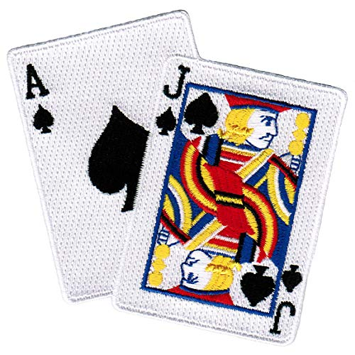 (Blackjack Iron-On Patch Embroidered Ace Jack of Spades Las Vegas Playing Cards)