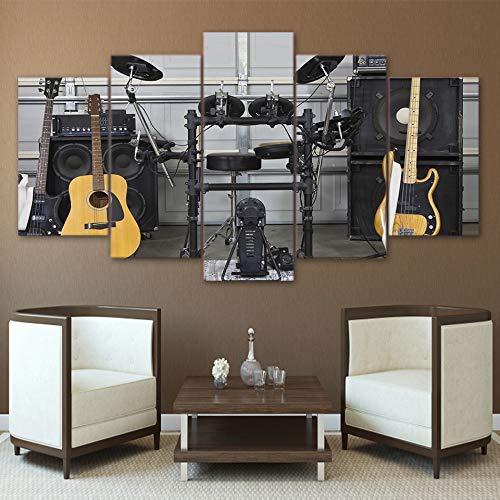 nuevo sádico Frame BAIF Lienzo Lienzo Lienzo de 5 Piezas Pintura Moderna HD D Wall Art Frame Fotos de Lona 5 Piezas Instrumento Musical Guitarra Tambor Acústica Pinturas Pósteres Decoración para el hogar 10x15 10x20 10x25cm  moda clasica
