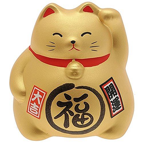 Kotobuki Maneki Neko Coin Bank Collectible Figurine, Good Fortune, Gold