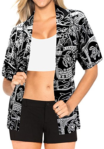 La Leela Likre v Neck Point Collar Camp Luau and Beach Wear For Work For Casual Plus Turtle Coconut Tree Palm Tree Black - Shops Point Coconut