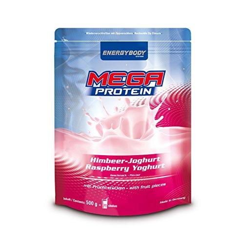 Energybody Mega Protein m. Fruchtstücken, Himbeer-Joghurt, 1er Pack (1 x 500 g Beutel)