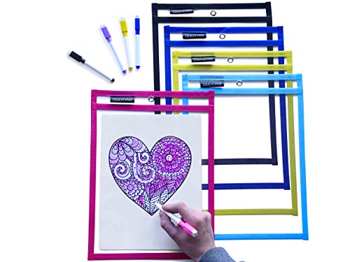 Reusable Dry Erase Pockets, EduCatPro Pack of 5 Write & Wipe Pockets with Dry Erase Markers, Best for Teachers, Students, Parents & Kids, Homeschooling Clear Pocket Sheets, Assorted Colors