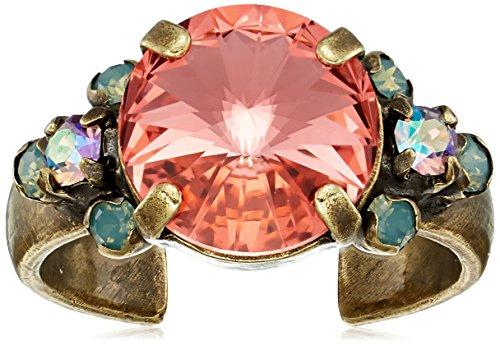- Sorrelli Womens Radiant Sunrise Crystal Adorned Ring, Pink, Adjustable