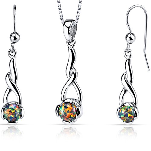 (Created Black Opal Helix Pendant Earrings Necklace Sterling Silver 2.00 Carats)