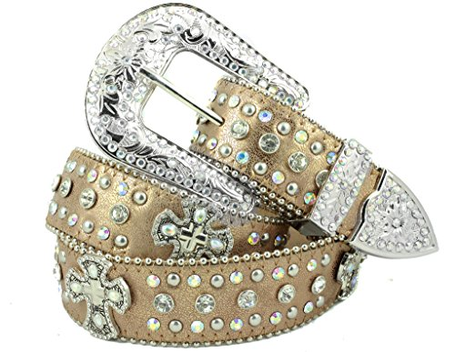 - Deal Fashionista DARK BEIGE CROSS Concho Western Rhinestone Bling Studded Removable Buckle Belt