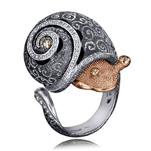 ALEX SOLDIER CODI THE SNAIL WITH DIAMONDS IN GOLD AND BLACKENED SILVER AND SWIRL PATTERN