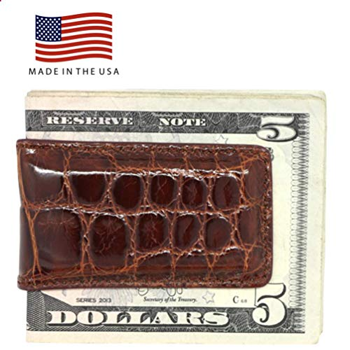 (Cognac Glazed Genuine Alligator Magnetic Money Clip – American Factory Direct - Strong Shielded Magnets - Money Holder - Money Holder - Made in USA by Real Leather Creations FBA498)