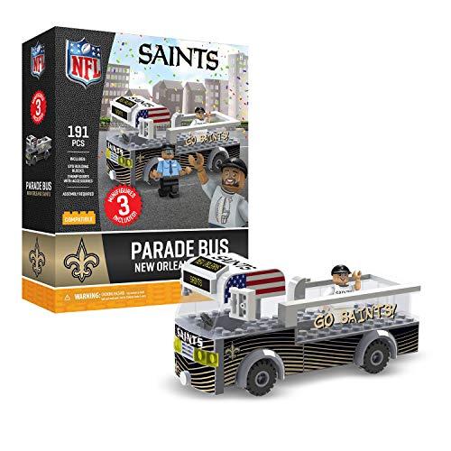 New Orleans Saints OYO Sports Toys Parade Bus Set with 3 Minifigure 191PCS ()