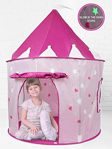 girl pink princess castle tent