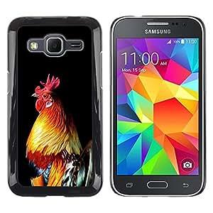 Cock Pájaro Pollo Gallo de Oro Negro- Metal de aluminio y de plástico duro Caja del teléfono - Negro - Samsung Galaxy Core Prime