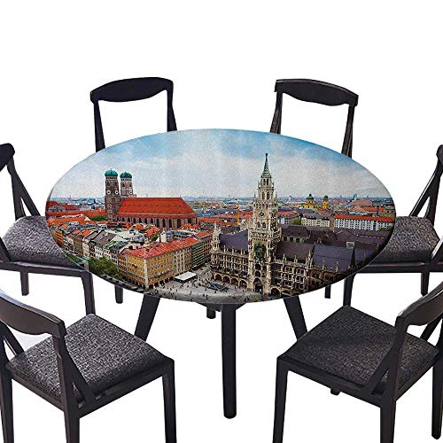 """Easy-Care Cloth Tablecloth City Centre of Marienplatz New Town Hall Glockenspiel cade Rooftop Sightseeing for Buffet Table, Holiday Dinner 50""""-55"""" Round (Elastic Edge)"""