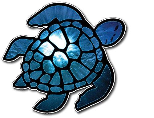 Sea Turtle Decal Vinyl Sticker Beach Jeep Ocean Design Printed on Sleek 3M Bubble Free Vinyl ()