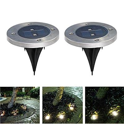 Lot de 2 lampes solaires à piquet inox Spotlight LED Borne pour de ...