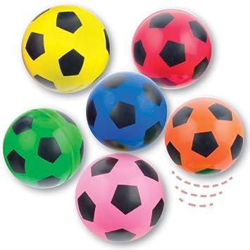 Baker Ross Pelotas de goma con diseño de balón de fútbol para niños (Paquete de 6) Para bolsas de cotillón