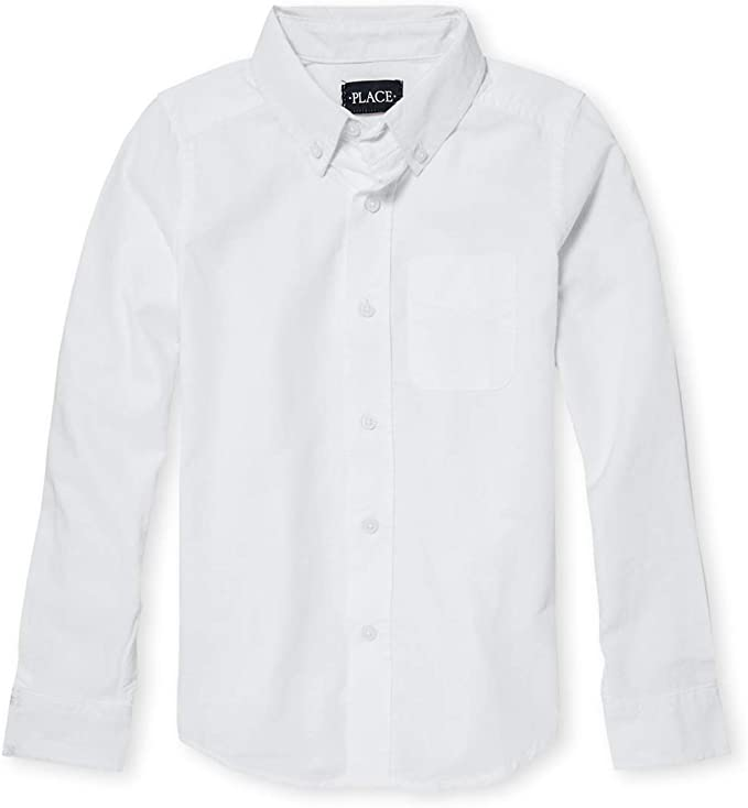 The Children's Place Big Boys' Long Sleeve Uniform Oxford Shirt, White 5063, Large/10/12