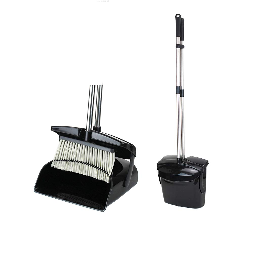 Maxer-Long Handle Angle Broom for Home Kitchen Room Office Lobby Floor Use Upright Stand up Dustpan Broom Set (Black) by Maxer
