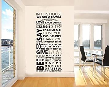 Quote Words In This House We Are A Family Wall Decals Removable - Removable vinyl wall decals for home decor
