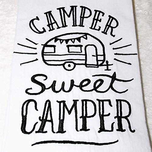 Hand Hemmed Towel Embroidered - RV Camping Decor - Embroidered Flour Sack Towel - Black - Travel Trailer - Camper