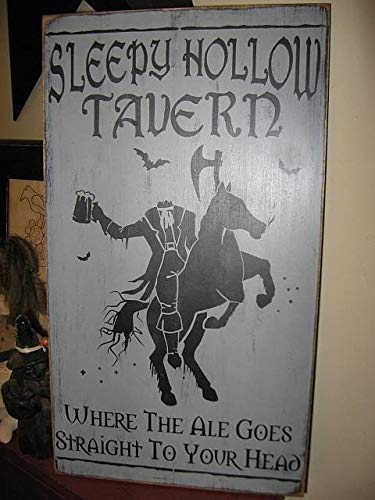 Iliogine Home Decorative Wood Sign The Sleepy Hollow Tavern Headless Horseman Hand Printed Primitive Halloween Plaque Plaque with Sayings Cabin Decor ()