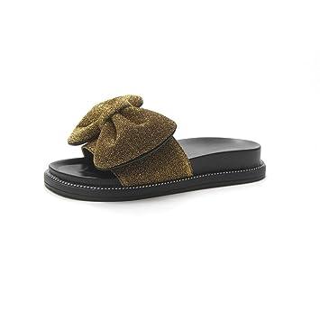 Sandalias y Zapatillas de Mujer Zapatos de Moda con Lazo de Lentejuelas, Dorado, Zapatillas de Interior 39Warm Forro de Zapatillas Slog-on Slog-on: ...