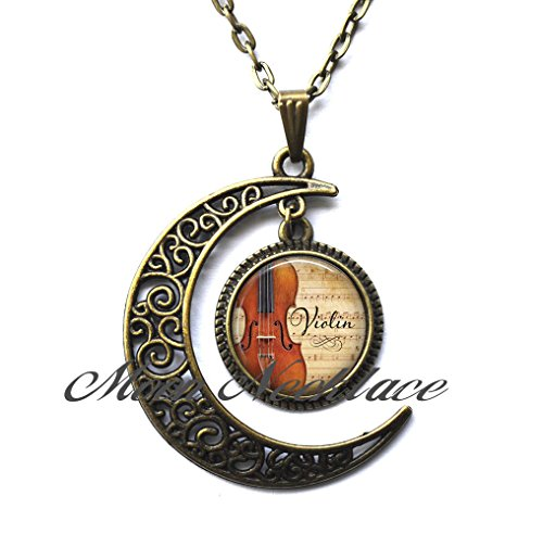 Moon Necklace, Crescent Moon Necklace,Dainty Necklace, Simple Necklace,Violin and Music pendant, musician's gift, music teacher's gift, violinist gift violin pendant music student gift -