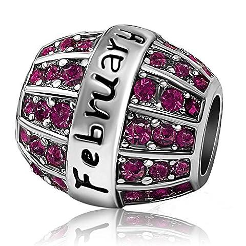 JMQJewelry Birthday Birthstone Spacer February Purple Charm Sale Beads Crystal Rhinestone Charms For - February Birthstone Charm
