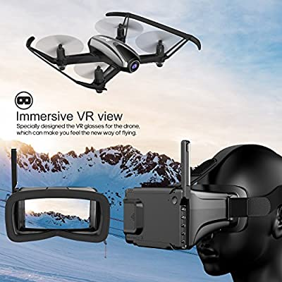 Potensic Drone with Camera, FPV RC Quadcopter 720P HD Live Vide with 5 Inch Screen Monitor, Headless Mode & Altitude Hold Function -VR Goggles Equipped