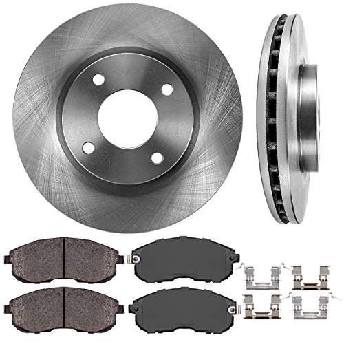 - FRONT 280 mm Premium OE 4 Lug [2] Brake Disc Rotors + [4] Ceramic Brake Pads + Clips