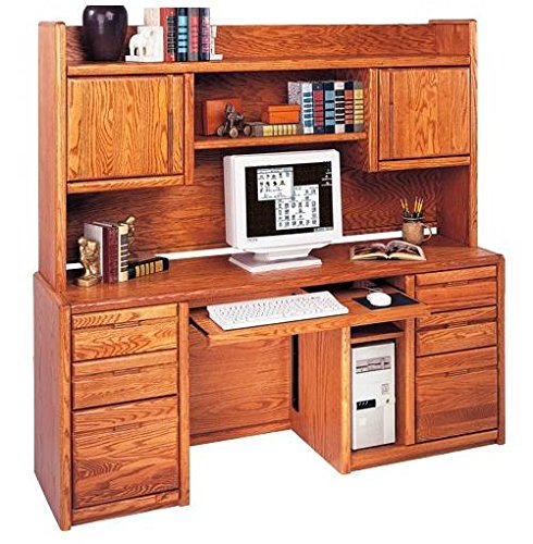 Contemporary Computer Credenza & Hutch in Medium Oak Finish - Medium Oak Credenzas