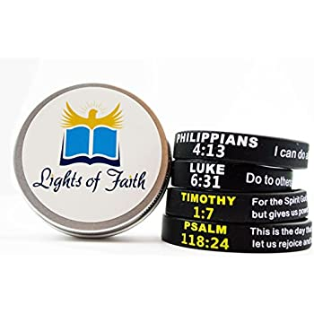 Bible Verse Christian Wristbands (Value Pack of 12 Silicone