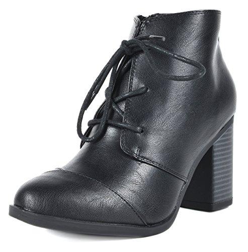 TOETOS Damen Chicago Chunky Heel Ankle Booties Schwarz Pu-5