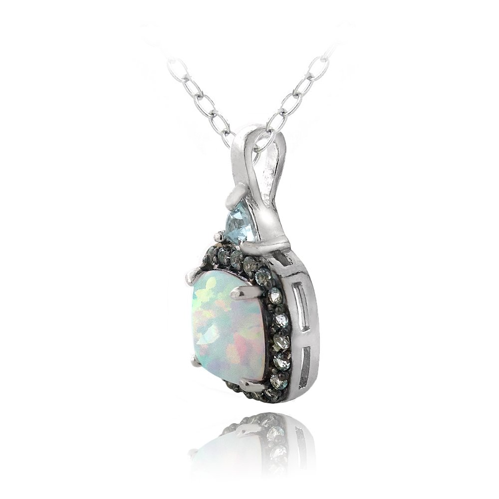 Sterling Silver Created White Opal /& Blue Topaz Square Necklace