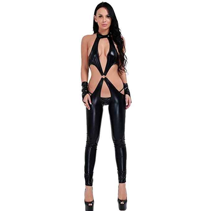 1c7fef408 Image Unavailable. Image not available for. Color  Agoky Women s Sexy Faux  Leather Crotchless Role Play Costume Halter Lingerie Teddies Teddy