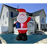 SEASONBLOW 10 Foot Inflatable Portable Christmas Santa Claus Blow Up Indoor and Outdoor Lawn Yard Home Decoration Hold Box